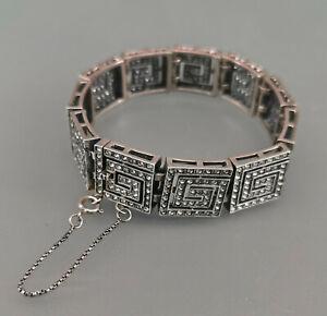 9901109 925er Silber Armband Art deco Mäanderglieder Swarovski-Steine 1,5x18cm