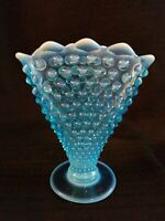 Vintage Fenton Blue Scalloped Opalescent Hobnail Glass Fan Vase