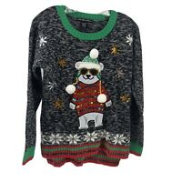 Polar Bear Ugly Christmas Sweater Sequined 3D Womens XS United States Sweaters