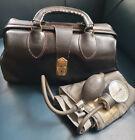 Vtg SCHELL Doctor Dr Leather MEDICAL BAG Emdee MD~Tycos BP Sphygmomanometer