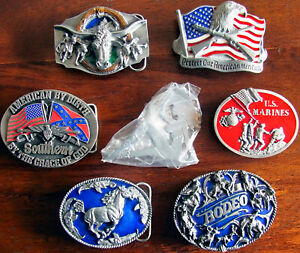 Western Belt Buckle Lot Marines Rodeo American Heritage Horse Cowboy Flag USA