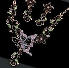 Retro Pendant Betsy Johnson Jewelry butterfly Suit flower rhinestone necklaces
