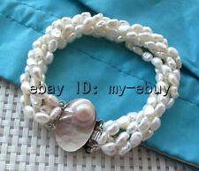 "5 Strands White Keshi Keishi Baroque Freshwater Pearl Bracelet Blister Clasp 8"""