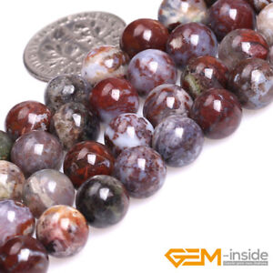 Natural Red Bloodstone Agate Gemstone Round Loose Spacer Jewelry Making Beads