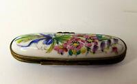 Limoges France Porcelain Needle Case Hand painted Floral Bouquet Signed Antique