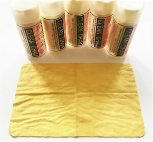"""5 CHAMOIS SYNTHETIC LEATHER TOWELS 8"""" X 13"""" DRYING CLEANING CAR BATH BOAT CHAM"""