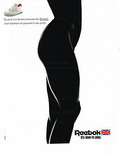 PUBLICITE ADVERTISING  1990   REEBOOK  vetements de sport baskets