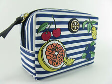 NWT Tory Burch Printed Nylon Brigitte Cosmetic MakeUp Bag in SYLVAN STRIPE $78