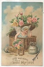 Happy New Year, Cherub Girl in Basket with Gold Coins Money Vintage Postcard