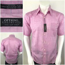 NEW Options Unltd 100% Cotton Men XL Button Short Sleeve Shirt Plaid Salmon Pink