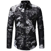Men's Long Sleeve Floral Casual Shirt Stylish Slim Fit Luxury Dress Shirts Tops