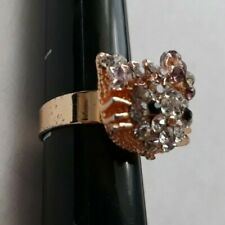 VERY PRETTY SPARKLY HELLO KITTY RING GOLDTONE w/CRYSTALS & PURPLE BOW ADORABLE!