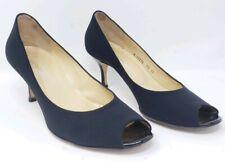 dd93ffc6cdba Bruno Magli Womens 9.5 AA Narrow Kitten Heel Pumps Black Fabric Peep Toe  Italy