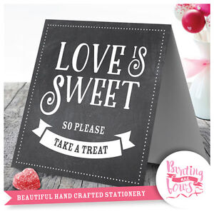Wedding Table Top Love is Sweet Candy Buffet Vintage Sign Chalkboard Print