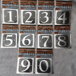 Silver Black Self Stick Adhesive Numbers Pick 0-9 Sign Door House Bin Wall Gate