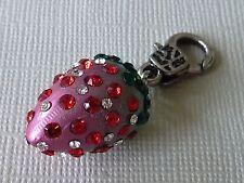 Wechsel Anhänger Charm Erdbeere mit Strass für Kette Glas Metall 2806