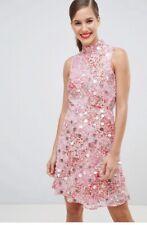 river island mesh orange red pink lace sequin embellished dress size 10 BNWT