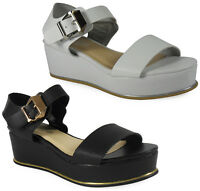 NEW WOMENS LADIES WEDGE BUCKLE FASHION CAUSUAL WORK SANDAL SHOES SIZE 3-8 UK