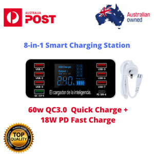 60w 8-port smart LED display charger QC 3.0+ PD Quick Charge Intelligent Charger