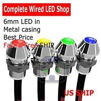 2~10 PCS 5mm Wired LED Diode Metal Case PANEL INDICATOR WARNING LIGHT 12V LAMP