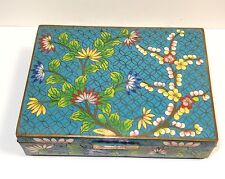 RARE LARGE CHINESE CLOISONNE TURQUOISE ENAMEL FLORAL BLOSSOMS HUMIDOR JAR BOX