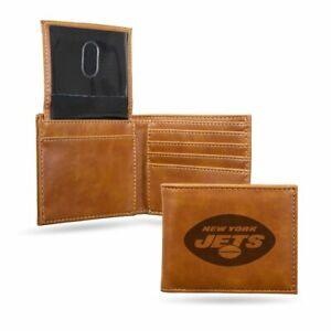 New York Jets Laser Engraved Brown Billfold Wallet