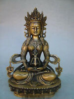 "8.6""Old Antique Chinese Ancient Collection Brass Bronze Tibet Buddha Statue"