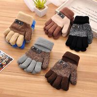 Boys Kids Children Warm Knitted Gloves Winter Thick Full Mitten Finger Protector