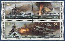 Marshall Islands 1991 World War 2 WW II Scott 278-81 Sinking the Bismarck W21 NH
