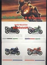 Kawasaki (1995) Deutscher Markt Umsatz broschüre texto gpx/gpz/zxr / klx/el/kx / Klr