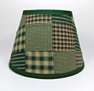 Country Primitive Green Patchwork Quilt Homespun Fabric Lampshade Lamp Shade