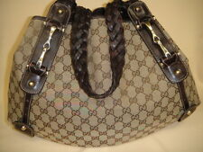 GUCCI Pelham Horsebit GG Guccissima & Leather w/ Braided Brown Straps Handbag