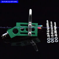 New 20/lot pure Silver wire CNC machined straight tonearm Angled GREEN headshell