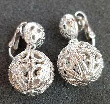 Toned Metal Ball Trifari Clip On Earrings Vintage 1955 Or Older Pair Of Silver