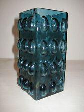 Mid Century Glasvase 60s Vase Bubble blue  Vintage Glass Vase Germany