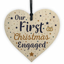 First Christmas Engaged Wooden Xmas Tree Decoration Heart Bauble Fiance Gift