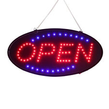 Ultra Bright Led Neon Light Oval Open Sign w/ Motion Animation On/Off Switch Lw