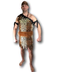 HOMME des Cavernes Costume Déguisement Jungle Tarzan Cerf Grotte Adulte