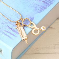 Alloy Medical Stethoscope Syringe Charm Pendant Necklace Chain Women Jewelry