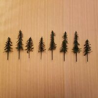 "8 Plastic HO, S & O Gauge Dark Evergreen Trees Without Bases 3 1/2"" & 5"" Tall"