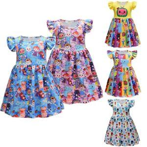Cocomelon Print Girls Dress Book Week Party Princess Dress Fancy Tutu Dress Gift