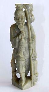 "Vtg Antique Marble Stone Carved Old Fisherman Japanese Man Statue Figurine 4.7"""
