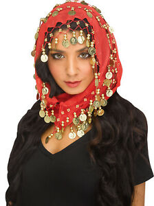 Women Bohemian Head Scarf Belly Dancer Skirt Wrap Gold Coins Halloween Costume