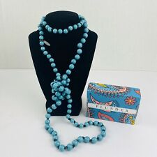 "Plunder Mabel Necklace - Turquoise beads on dark brown cord. 60"" Fast Shipping"