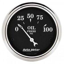"""Auto Meter 1727 2-1/16"""" Oil Pressure Gauge, 0-100 PSI, Air-Core, Old Tyme Black"""