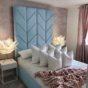 50-70 inch Extra Tall Chevron Design Upholstered Floor Standing Bed Headboard