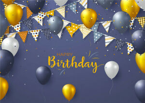 7x5ft Birthday Party Colorful Pennants Balloons Vinyl Backdrop Photo Background