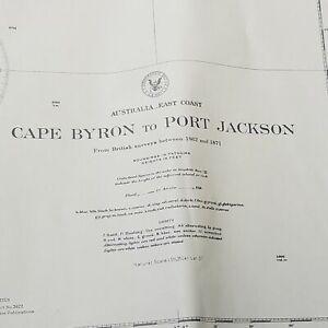 Vintage Australia East Coast Cape Bryon to Port Jackson Navy Chart Map