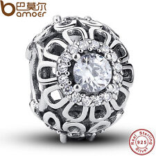 Retro Authentic S925 Sterling Silver Charms Hollow Flower Fit Pa Bracelets Chain