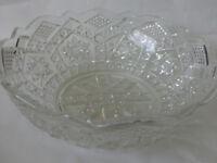 "Large Heavy Diamond-Cut Vintage Baroque Crystal Glass Centrepiece Bowl -10"" Wide"